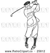 Vector Clip Art of Retro Man Golfing by Prawny Vintage