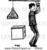 Vector Clip Art of Retro Man Holding a Pledge Weight over a Safe by Prawny Vintage