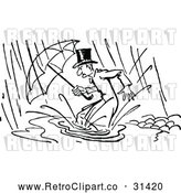 Vector Clip Art of Retro Man in a Flood by Prawny Vintage