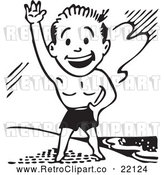 Vector Clip Art of Retro Man in Swim Trunks, Waving on a Beach by BestVector