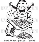 Vector Clip Art of Retro Man Jumping over a Sack of Money by BestVector