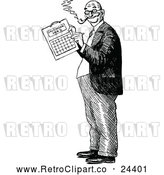 Vector Clip Art of Retro Man Marking a Calendar by Prawny Vintage