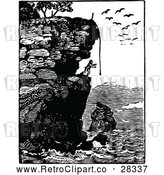 Vector Clip Art of Retro Man on a Coastal Cliff by Prawny Vintage
