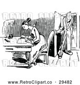 Vector Clip Art of Retro Man Peeking in at a Woman Writing a Letter by Prawny Vintage