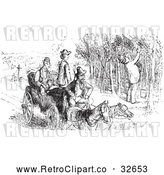 Vector Clip Art of Retro Man Picking Grapes in Black and White by Picsburg