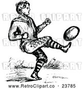 Vector Clip Art of Retro Man Playing Football by Prawny Vintage