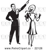 Vector Clip Art of Retro Man Pointing and Showing His Wife Something by BestVector