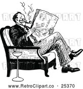 Vector Clip Art of Retro Man Reading a Newspaper by Prawny Vintage