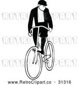 Vector Clip Art of Retro Man Riding a Bicycle 3 by Prawny Vintage