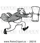 March 21st, 2018: Vector Clip Art of Retro Man Running with a Scroll by Prawny Vintage