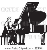 Vector Clip Art of Retro Man Seated and Playing a Piano by BestVector