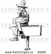 Vector Clip Art of Retro Man Sitting on a Sign by Prawny Vintage