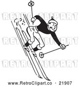 Vector Clip Art of Retro Man Skiing Downhill by BestVector