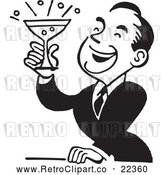 Vector Clip Art of Retro Man Smiling and Holding up a Cocktail by BestVector