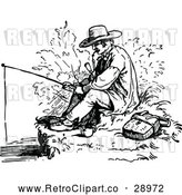 Vector Clip Art of Retro Man Smoking a Pipe and Fishing by Prawny Vintage