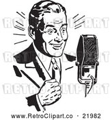 Vector Clip Art of Retro Man Speaking into a Microphone by BestVector