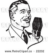 Vector Clip Art of Retro Man Talking into a Microphone by BestVector