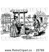 Vector Clip Art of Retro Man Talking to a Woman Fetching Water at a Well by Prawny Vintage