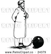 Vector Clip Art of Retro Man Tied to a Ball and Chain by Prawny Vintage