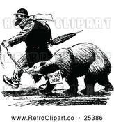 Vector Clip Art of Retro Man Trying to Sell a Bear by Prawny Vintage