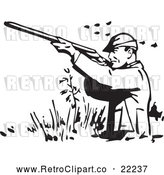 Vector Clip Art of Retro Man Wading and Shooting at Ducks by BestVector