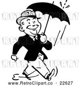 Vector Clip Art of Retro Man Walking with an Umbrella by BestVector