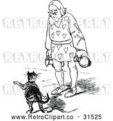 Vector Clip Art of Retro Man Watching a Pointing Cat by Prawny Vintage