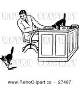 Vector Clip Art of Retro Man Watching Cats at a Desk by Prawny Vintage