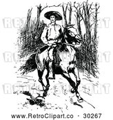 March 21st, 2018: Vector Clip Art of Retro Man with a Rifle on a Horse by Prawny Vintage