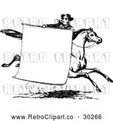 Vector Clip Art of Retro Man with a Sign on a Horse by Prawny Vintage