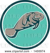 Vector Clip Art of Retro Manatee Swimming in a Teal White and Turquoise Circle by Patrimonio