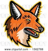 Vector Clip Art of Retro Maned Wolf Mascot Head Facing Right by Patrimonio