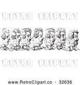 Vector Clip Art of Retro Man's Beard Growing in Black and White by Picsburg