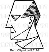 Vector Clip Art of Retro Mans Face in Profile 2 by Prawny Vintage