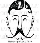 Vector Clip Art of Retro Mans Face with a Mustache 2 by Prawny Vintage