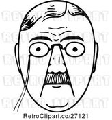 Vector Clip Art of Retro Mans Face with a Mustache and Glasses by Prawny Vintage