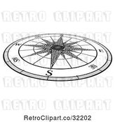 Vector Clip Art of Retro Map Compass Rose by AtStockIllustration