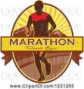 Vector Clip Art of Retro Marathon Classic Run Banner over a Guy and Mountains by Patrimonio