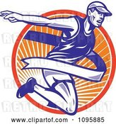 Vector Clip Art of Retro Marathon Runner Breaking Through the Finish Line over Rays by Patrimonio