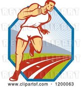 Vector Clip Art of Retro Marathon Runner Guy on a Track over a Hexagon by Patrimonio