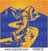Vector Clip Art of Retro Marathon Runner Heading up a Mountain by Patrimonio