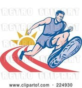 Vector Clip Art of Retro Marathon Runner on a Track Logo by Patrimonio