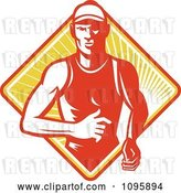 Vector Clip Art of Retro Marathon Runner over a Diamond of Rays by Patrimonio