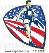 August 14th, 2018: Vector Clip Art of Retro Marathon Runner over a Mountain American Stars and Stripes Shield by Patrimonio