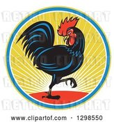 Vector Clip Art of Retro Marching Black Rooster in a Circle of Sunshine by Patrimonio