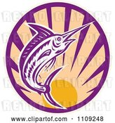 Vector Clip Art of Retro Marlin Jumping over a Sunset Circle by Patrimonio