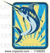 Vector Clip Art of Retro Marlin Jumping over a Sunset with Droplets by Patrimonio