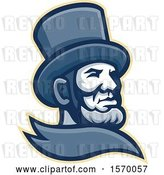 Vector Clip Art of Retro Mascot of Abraham Lincoln in a Top Hat by Patrimonio