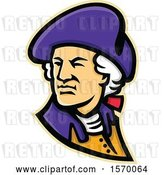 Vector Clip Art of Retro Mascot of George Washington Looking over His Shoulder by Patrimonio