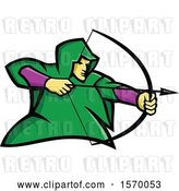 Vector Clip Art of Retro Mascot of Robin Hood or a Medieval Archer by Patrimonio